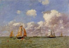 Oil painting reproduction: Eugene Boudin Fishing Boats At Sea 1895 Sailboat Art, Sailboat Painting, Monet, Eugene Boudin, French Impressionist Painters, Seascape Paintings, Oil Paintings, Oil Painting Reproductions, French Art