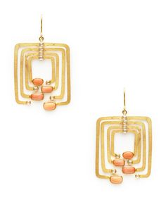 Pink Coral & Diamond Rectangle Drop Earrings by Megan Odabash at Gilt