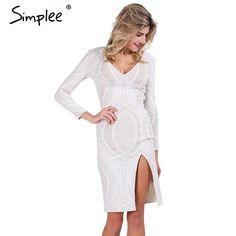 Simplee Apparel Sexy lace split bodycon dress Autumn deep v neck slim pencil dresses Party long sleeve winter dress vestidos