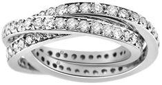 3.50 Carat Three Interlocking Ring Diamond Eternity Band diamond rings