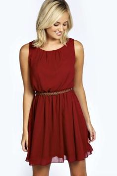 Frankie Sleeveless Chiffon Belted Skater Dress