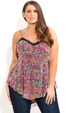 City Chic - MINI FLORAL TOP - Women's plus size fashion