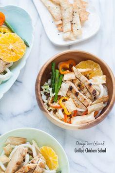 Orange Tare-Glazed Grilled Chicken Salad orang tareglaz, chicken recip, chicken salads, food, grill chicken, grilled chicken, fruit recip, oranges, recipe chicken