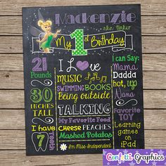 Tinker Bell Fairy Birthday Chalkboard Board by ConfettiGraphics