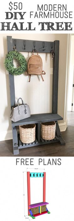 This DIY Modern Hall Tree is an easy build and will only cost you about … Diy Furniture, Farmhouse Decor, Modern Diy, Woodworking Projects Diy, Modern Hall Trees, Diy Woodworking, Wood Diy, Modern Farmhouse Diy, Diy Farmhouse Decor