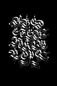 Diverse blackletter alphabets done with the parallel pen and pointed pen in / ink on paper / scanned in and inverted. Gothic Lettering, Chicano Lettering, Graffiti Lettering Fonts, Graffiti Alphabet, Creative Lettering, Lettering Design, Tattoo Lettering Alphabet, Tattoo Name Fonts, Calligraphy Fonts Alphabet