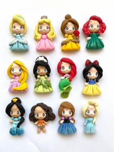 Polymer Clay Princess, Polymer Clay Disney, Polymer Clay Kawaii, Polymer Clay Dolls, Polymer Clay Charms, Polymer Clay Jewelry, Disney Clay Charms, Clay Projects, Clay Crafts