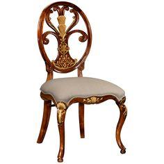 Jonathan Charles Sheraton Style Oval Back Chair Fabric Seat