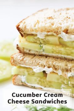 This simple sandwich takes almost no time to make, but is irresistibly good! Simply spread cream cheese flavored with dill and lemon juice onto two pieces of whole grain bread and layer on some sliced cucumber. It's the perfect lunch recipe for when you're in a hurry!