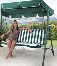 3 SEAT GARDEN PATIO SWING SEAT CHAIR HAMMOCK - GREEN & WHITE STRIPED