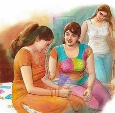 Paintings of Artist Mohan Manimala Indian Women Painting, Indian Art Paintings, Old Paintings, Beautiful Paintings, Sexy Painting, Woman Painting, Artist Painting, Watercolour Painting, Indian Drawing