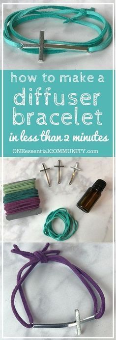 Make your own DIY essential oil diffuser bracelet with just a couple of supplies, less than 2 minutes to make, and no special craft skills needed. Fun for a girls night or make & take class. Plus there are lots of ideas for how to customize the scent of y Diy Essential Oil Diffuser, Essential Oil Jewelry, Essential Oil Blends, Do It Yourself Jewelry, Diffuser Jewelry, Diffuser Necklace, Diy Leather Diffuser Bracelet, Diffuser Blends, Diffuser Diy