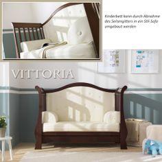 Einfach genial! Nachdem Umbau des italienischen Pali Kinderbettes Vittoria offenbart sich ein elegantes Stilsofa.