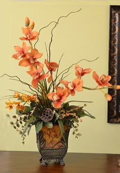 Terra Cotta Silk Cymbidium Orchid Arrangement and Willow O143 - Click Image to Close