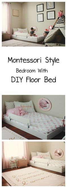 Montessori Style Bedroom With DIY Floor Bed - Oh Happy Play / Floor bed, Montessori Room, DIY Floor Bed, Toddler Bed, Baby Floor Bed, Montessori Bed, Bed on the floor, Toddler room, nursery with floor bed, girl room
