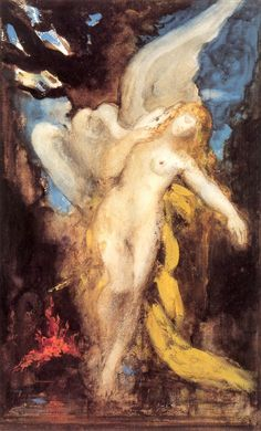 Gustave Moreau - Leda and the Swan. Tags: leda, females seduced by zeus, jupiter, zeus in disguise, transformations,