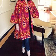 Absolutely stunning Ikat Print 100% Silk Coat Absolutely amazing Ikat Print 100% Adras Silk Coat. Coat has beautiful rhinestone embellishment on the front. Slit pockets. Beautiful bell sleeves. MeAndAgnes Jackets & Coats