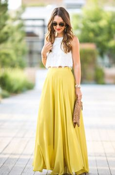 white crop top and maxi skirt