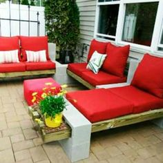 Outdoor seating with wood and blocks