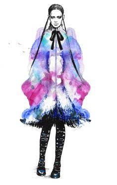 Alexander Mcqueen. on Behance * aquarel * art * sketch * stunning * fashion illustration