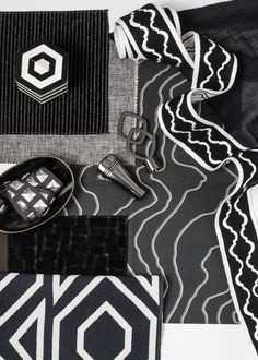 Rich black is the backdrop for a trend toward dark moody and enticing interiors. Central to this style is a strong black foundation which can be paired with neutrals or deep saturated color. Fabricut Fabrics, Photoshop, Colour Board, Saturated Color, Color Inspiration, Backdrops, Upholstery, Textiles, Black And White