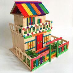 Diy Home Crafts, Diy Crafts For Kids, Fun Crafts, Art For Kids, Arts And Crafts, Popsicle Stick Crafts House, Popsicle Sticks, Craft Stick Crafts, Resin Crafts