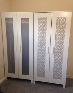 Ikea hack: aneboda wardrobe (£39) + wallpaper sample (free) = loveliness :)