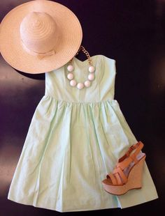 mint strapless dress with wedges and white statement necklace