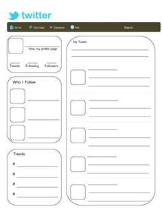 Twitter Template - Blank | Activities, School and Classroom activities