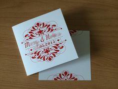 La papeterie de mon mariage : faire-part mariage rouge et blanc