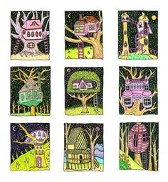 These colored pencil drawings are based around the wild and colorful architectural structures of this the artists imagination, with quirky homes that will have 5th Grade Art, Drawing Projects, School Art Projects, Art Lessons Elementary, Elements Of Art, Art Journal Inspiration, Drawing For Kids, Teaching Art, Art Education