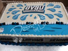#221 GVSU Swim team cake by Desserts by Lori
