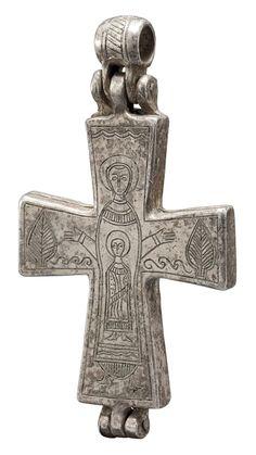 A Byzantine silver reliquary cross, circa 10-12th century AD. Starting bid $4,800.