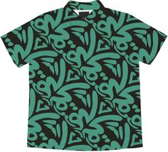 Teal Pacific Tribal Pattern blouse designed by Seitu Hayden -Saytoons on from Print All Over Me