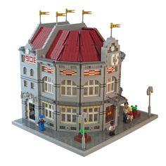 Lego Train Station, Casa Lego, Lego Village, Lego Boards, Lego Christmas, Lego 4, Lego Construction, Lego Trains, Lego Modular