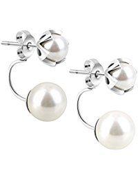 Abeillo Perle Ohrringe 925 Sterling-Silber Ohrstecker Damen und Mädchen