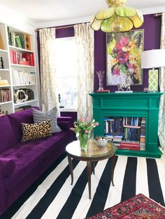 Colorful Whole House Renovation Inspiration | Apartment Therapy Living Room Interior, Home Living Room, Living Room Decor, Bedroom Decor, Wall Decor, Room Colors, House Colors, Estilo Hollywood Regency, Home Organization