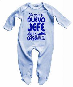 Dirty Fingers, Nuevo Jefe de la casa, Bebés Traje de Dormir, azul pálido, 6-12 meses