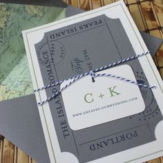 This unique wedding invitation is custom for your nautical wedding escape. The flat card wedding invitation and scallop edged ferry ticket wrapped together with baker's twine and a small tag is a present for your guests to open.