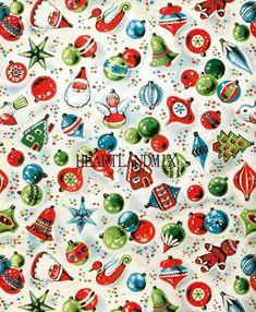 Retro Vintage Christmas Ornaments Christmas Paper Digital Image Download Printable Wallpaper