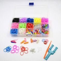 Heißesten diy twistz Gummiband-Webstuhl für Kinder, einschließlich Acryl Anhänger, Eisen Ringe springen, Gummibänder Haken Webstuhl, Werkzeuge und Kunststoff s-Clips