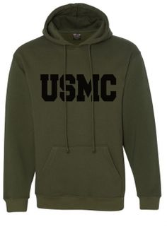 Choose between a green, black, red, or gray Marine Corps heavyweight hoodie sweatshirt. This American-made hoodie is made of cotton and polyester. Usmc, Marines, Big Letters, Hooded Sweatshirts, Hoodies, Marine Corps, American Made, Pullover, Hoodie