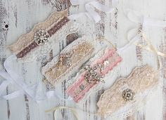 Old bracelets   ... stitched with vintage lace ribbon and vintage re purposed jewelry