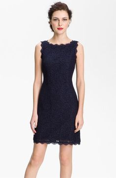 Pretty lace sheath dress - digging the scalloped boat neck! $148