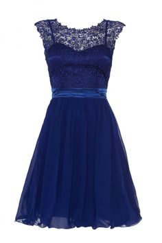 £49.99  Royal Blue Lace Chiffon Prom Dress