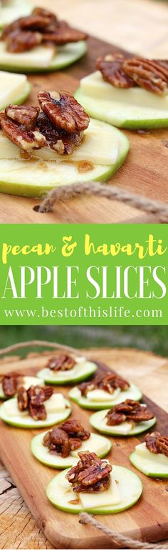 Healthy Snacks For Kids Pecan and Havarti Apple Slices Healthy Snack or Appetizer - Looking for healthy sweet and savoury snacks to try this summer? We're serving up some nutritious and delicious Havarti appetizers today. Apple Snacks, Savory Snacks, Apple Recipes, Protein Pudding, Best Appetizers, Appetizer Recipes, Party Appetizers, Food Network, Tacos