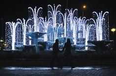Fontanna w świątecznej odsłonie / The Fountain dressed up for Christmas #gdynia #christmas #lights