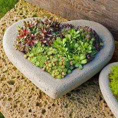 stone heart planter | Heart Large Cast Stone Planters | Concrete Planters | ePlanters.com