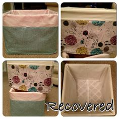 Fabric covered milk crates - need to do this in different fabrics for the kids rooms