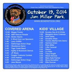 Boxerstock 2014 Schedule! Jim Miller, Boxer Rescue, Dog Runs, Family Events, Small Dogs, Schedule, Clinic, Words, Timeline
